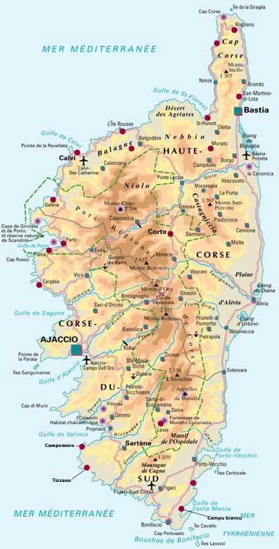 carte détaillée de la corse carnets de voyages et circuits Corse   carte détaillée