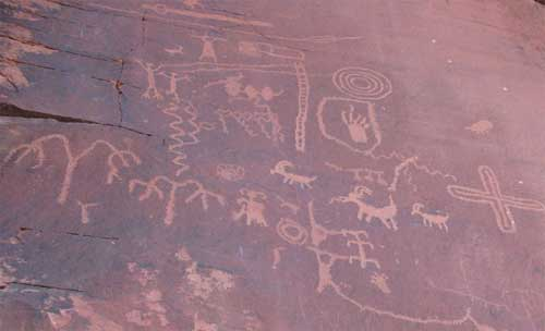 carnets de voyage usa - valley of fire - les petroglyphs de atlatl rock